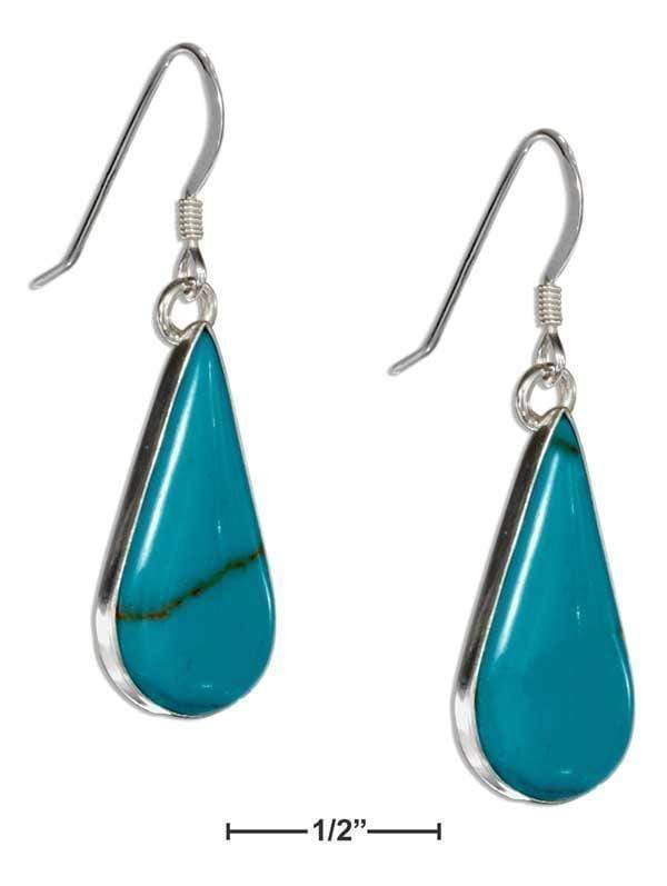 Silver Earrings Sterling Silver Simulated Turquoise Teardrop Earrings On French Wires JadeMoghul Inc.