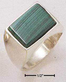 Silver Jewelry Rings Sterling Silver Men'S Rectangular Simulated Malachite Ring JadeMoghul Inc.