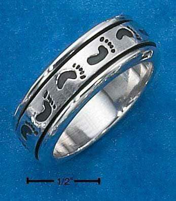 Silver Jewelry Rings Sterling Silver Mens Worry Ring With Footprints Spinning Band JadeMoghul Inc.