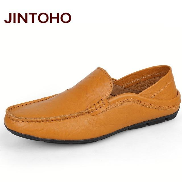 Slip-On Men Loafers / Genuine Leather Flats-huang se-5-JadeMoghul Inc.
