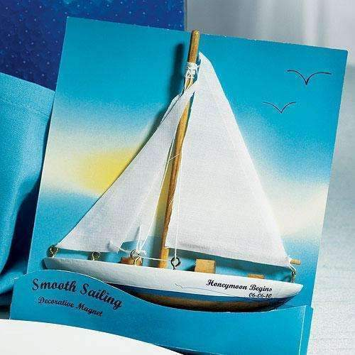 """Smooth Sailing"" Sailboat Magnet Gift Favor (6) (Pack of 6)-Popular Wedding Favors-JadeMoghul Inc."