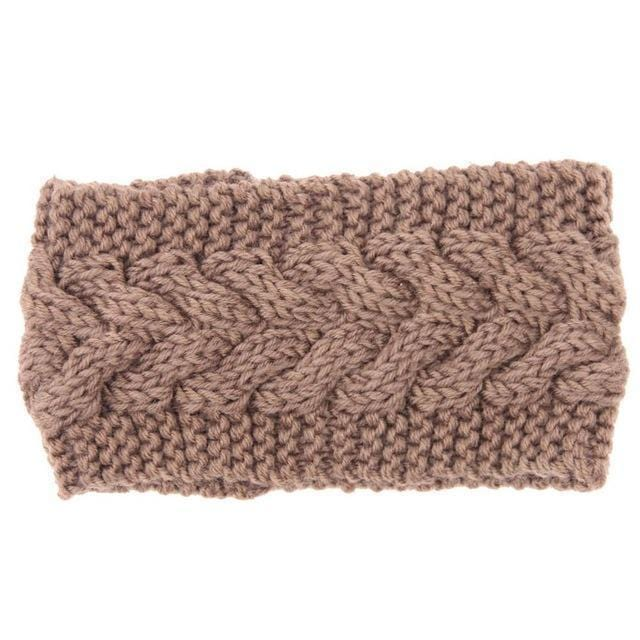 Solid Wide Knitting Woolen Headband Winter Warm Ear Crochet Turban Hair Accessories For Women Girl Hair Band Headwraps-Khaki-JadeMoghul Inc.