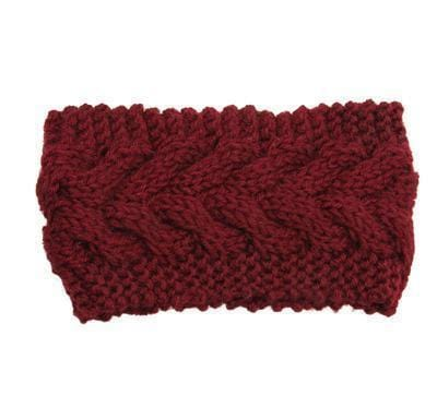 Solid Wide Knitting Woolen Headband Winter Warm Ear Crochet Turban Hair Accessories For Women Girl Hair Band Headwraps-Wine-JadeMoghul Inc.