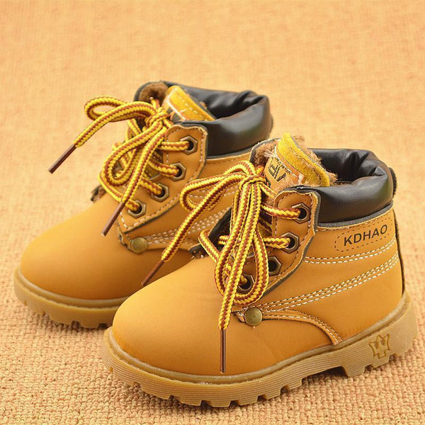Spring Autumn Winter Children Sneakers Martin Boots Kids Shoes Boys Girls Snow Boots Casual Shoes Girls Boys Plush Fashion Boots-Black-6-JadeMoghul Inc.