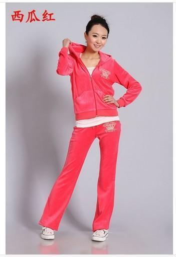 Spring / Fall 2017 Women's Brand Velvet Fabric Tracksuits Velour Suit Women Track Suit Hoodies And Pants Size S - 3XL AExp