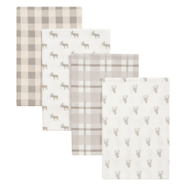 Stag and Moose 4 Pack Flannel Blankets-WHIM-U-JadeMoghul Inc.