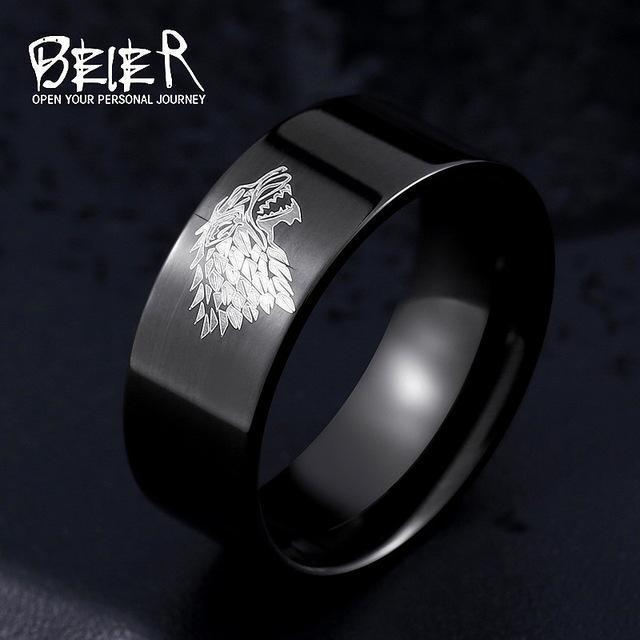 Stainless Steel ring Game of Thrones ice wolf House Stark of Winterfell men ring LUO001-6-Black-JadeMoghul Inc.
