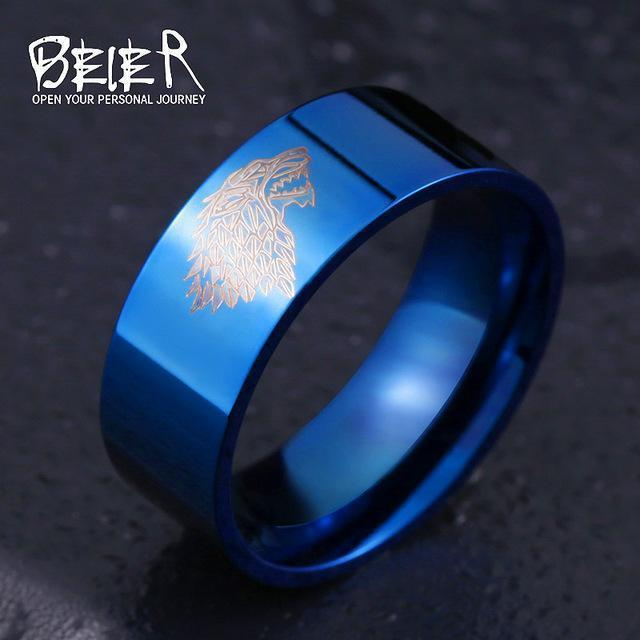 Stainless Steel ring Game of Thrones ice wolf House Stark of Winterfell men ring LUO001-6-Blue-JadeMoghul Inc.
