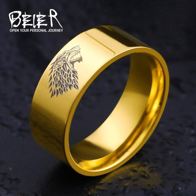 Stainless Steel ring Game of Thrones ice wolf House Stark of Winterfell men ring LUO001-6-Gold-JadeMoghul Inc.