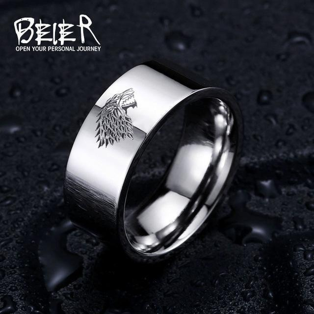 Stainless Steel ring Game of Thrones ice wolf House Stark of Winterfell men ring LUO001-6-White-JadeMoghul Inc.