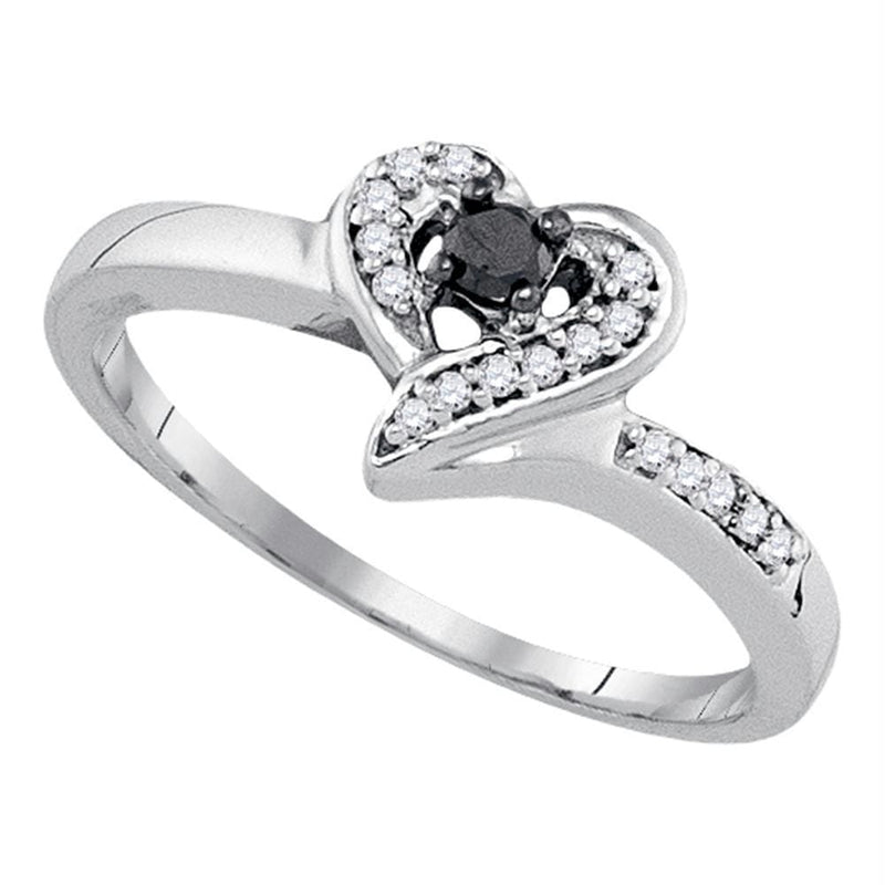 Sterling Silver G&D Sterling Silver Women's Round Black Color Enhanced Diamond Heart Ring 1-8 Cttw - FREE Shipping (US/CAN) JadeMoghul