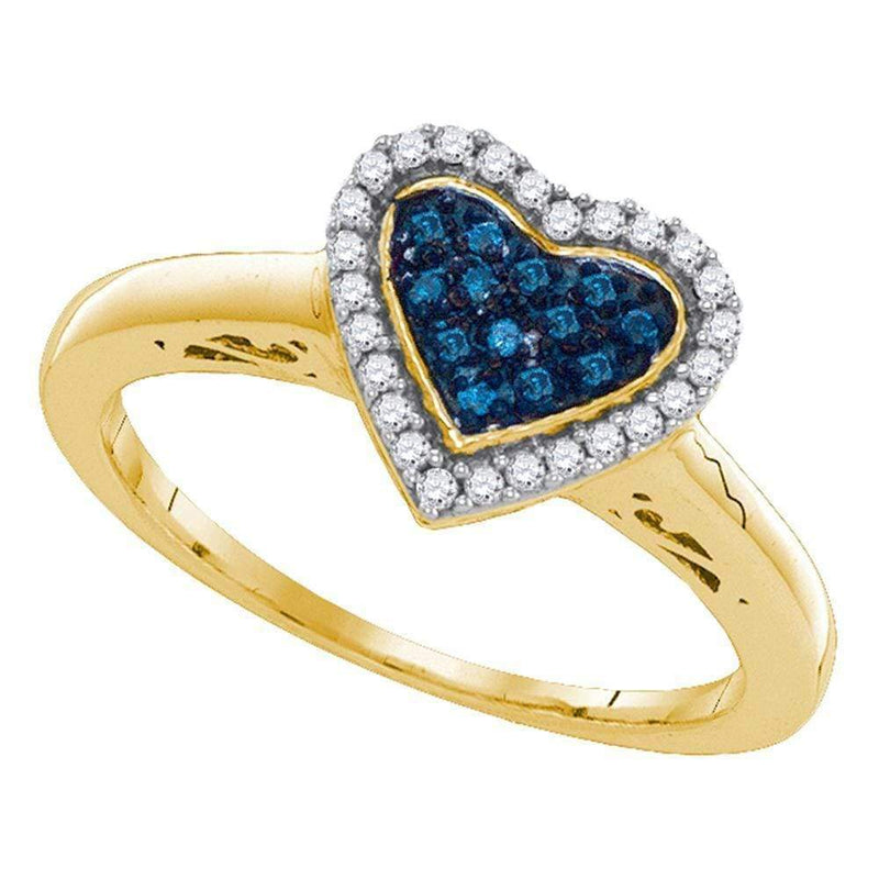 Sterling Silver G&D Sterling Silver Women's Round Blue Color Enhanced Diamond Heart Love Ring 1/5 Cttw - FREE Shipping (US/CAN) JadeMoghul