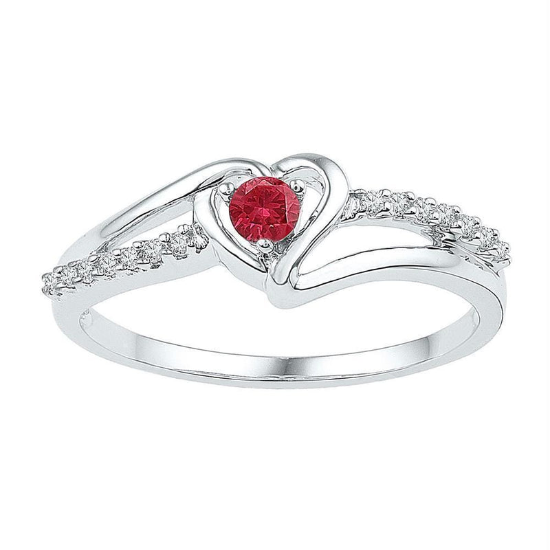 Sterling Silver G&D Sterling Silver Women's Round Lab-Created Ruby Solitaire Diamond Heart Ring 1-5 Cttw - FREE Shipping (US/CAN) JadeMoghul