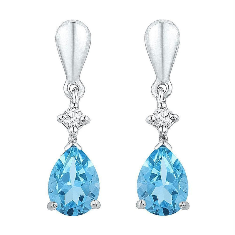 Sterling Silver G&D Sterling Silver Womens Pear Lab-Created Blue Topaz Dangle Earrings 1-5-8 Cttw JadeMoghul Inc.