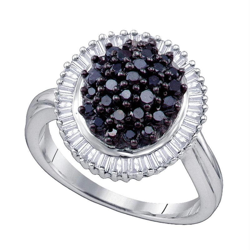 Sterling Silver G&D Sterling Silver Womens Round Black Color Enhanced Diamond Cluster Oval Ring 1.00 Cttw JadeMoghul Inc.