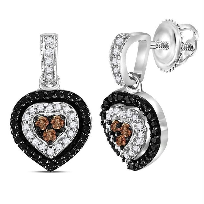Sterling Silver G&D Sterling Silver Womens Round Black Color Enhanced Diamond Heart Dangle Earrings 1-2 Cttw JadeMoghul Inc.