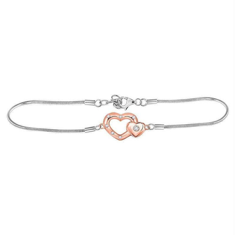Sterling Silver G&D Sterling Silver Womens Round Diamond Double Heart Fashion Bracelet 1-20 Cttw JadeMoghul Inc.