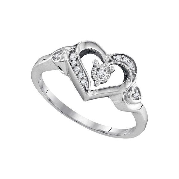 Sterling Silver G&D Sterling Silver Womens Round Diamond Solitaire Heart Ring 1/20 Cttw JadeMoghul Inc.
