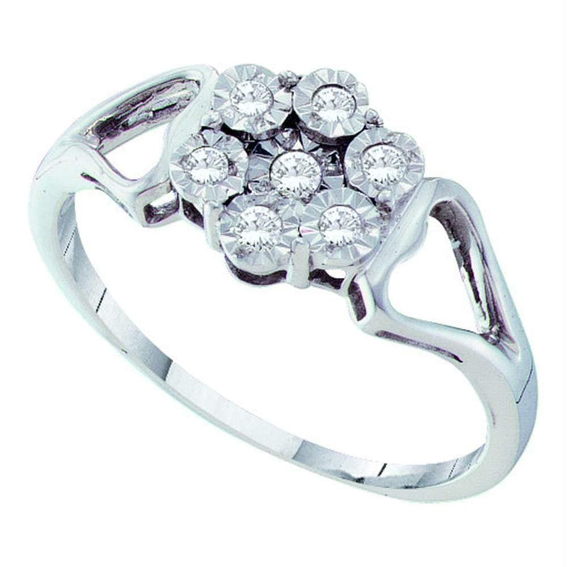 Sterling Silver G&D Sterling Silver Womens Round Illusion-set Diamond Flower Cluster Ring 1/8 Cttw JadeMoghul Inc.