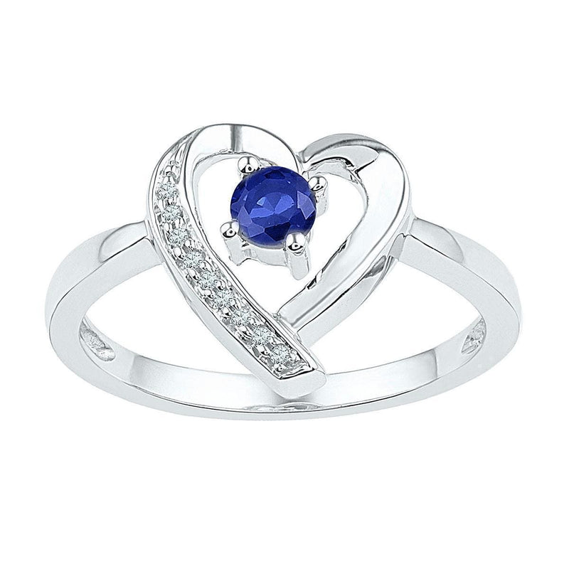 Sterling Silver G&D Sterling Silver Womens Round Lab-Created Blue Sapphire Diamond Heart Ring 1/4 Cttw JadeMoghul Inc.