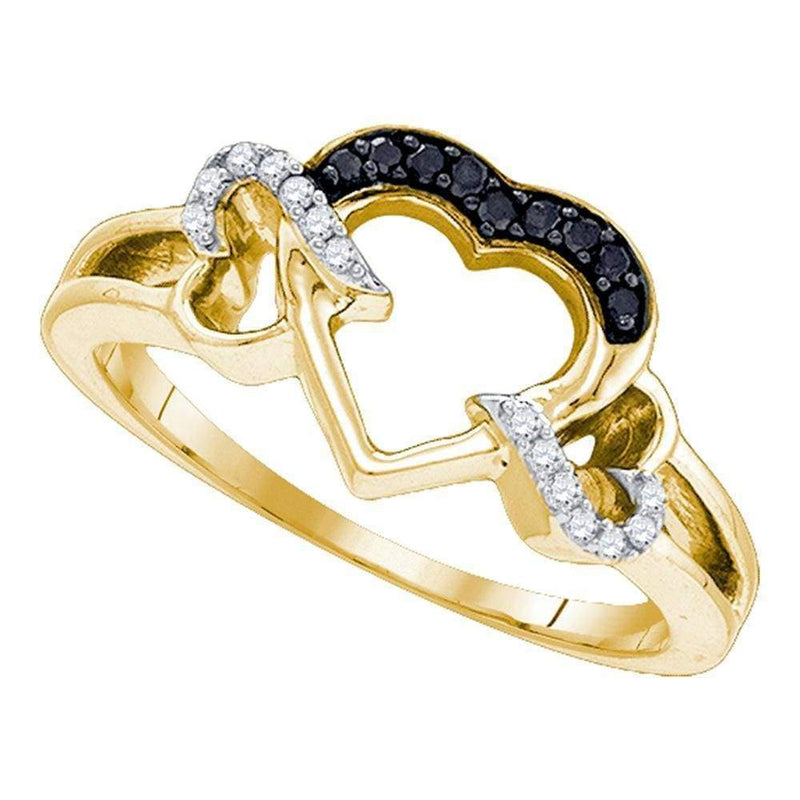 Sterling Silver G&D Yellow-tone Sterling Silver Women's Round Black Color Enhanced Diamond Heart Love Ring 1/8 Cttw - FREE Shipping (US/CAN) JadeMoghul