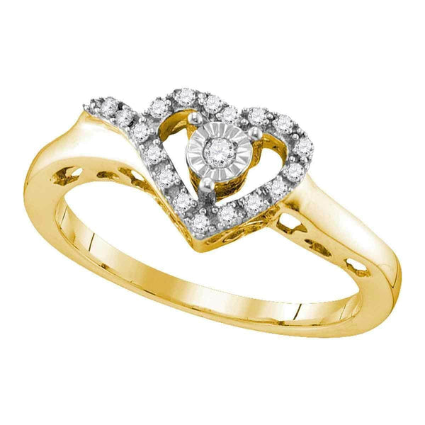 Sterling Silver G&D Yellow-tone Sterling Silver Women's Round Diamond Heart Love Ring 1/10 Cttw - FREE Shipping (US/CAN) JadeMoghul