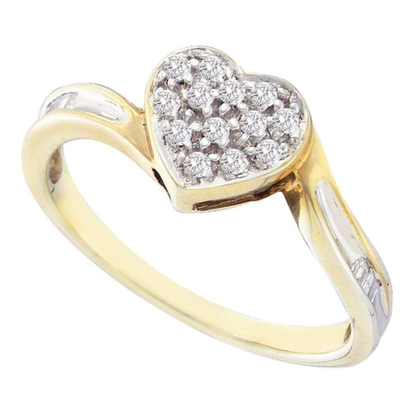 Sterling Silver G&D Yellow-tone Sterling Silver Women's Round Diamond Heart Love Ring 1/8 Cttw - FREE Shipping (US/CAN) JadeMoghul