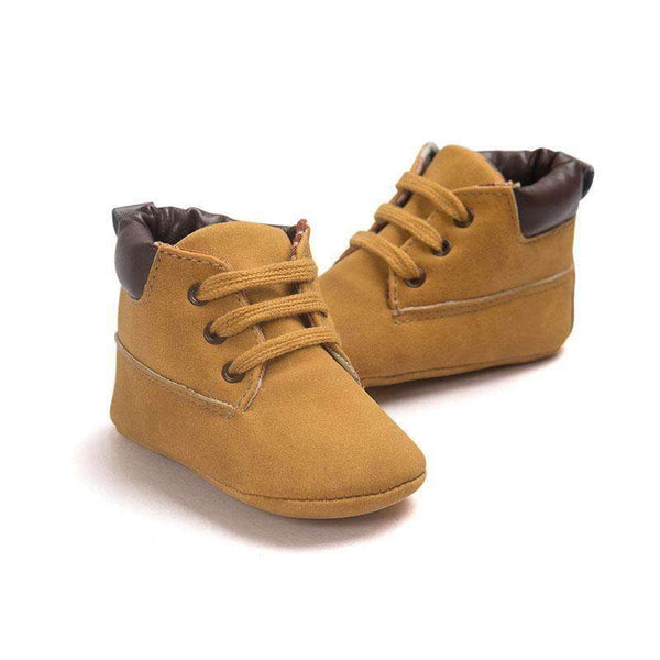 Suede Lace-up Baby Boy's Booties-Khaki-0-6 Months-JadeMoghul Inc.