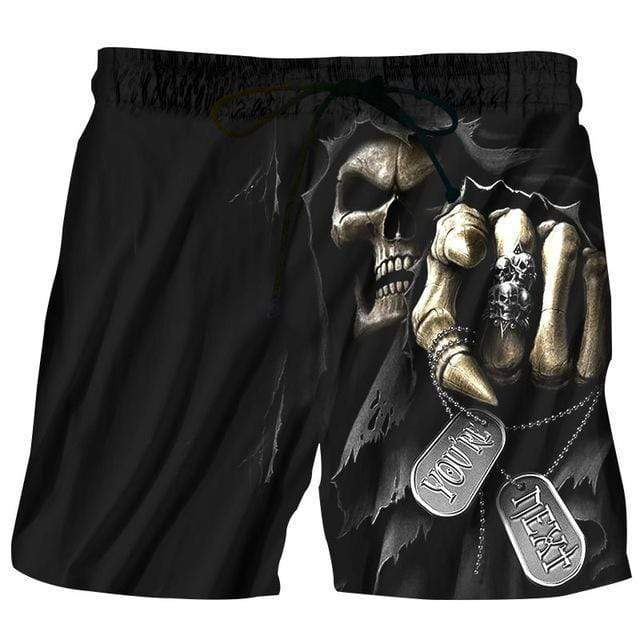 Summer Men Beach Shorts 2017 Skull Punisher 3D Print Fashion Men's Bermuda Boardshorts Fitness Trousers Plus Size 6XL Quick Dry AExp