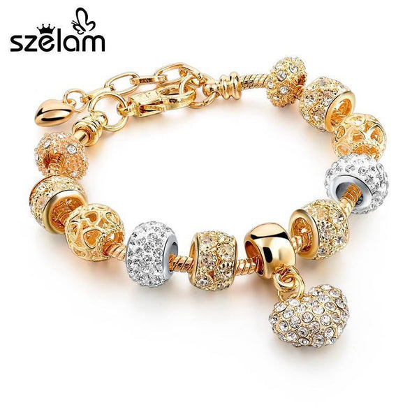 Szelam Luxury Crystal Heart Charm Bracelets & Bangles Gold Bracelets For Women Jewellery Pulseira Feminina Sbr160056-Main Picture-JadeMoghul Inc.
