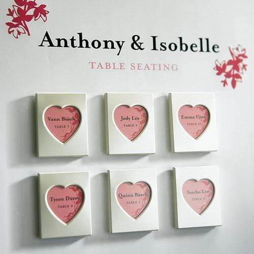 Table Planning Accessories Mini Magnet Back Aluminum Heart Photo Frames (Pack of 3) JM Weddings
