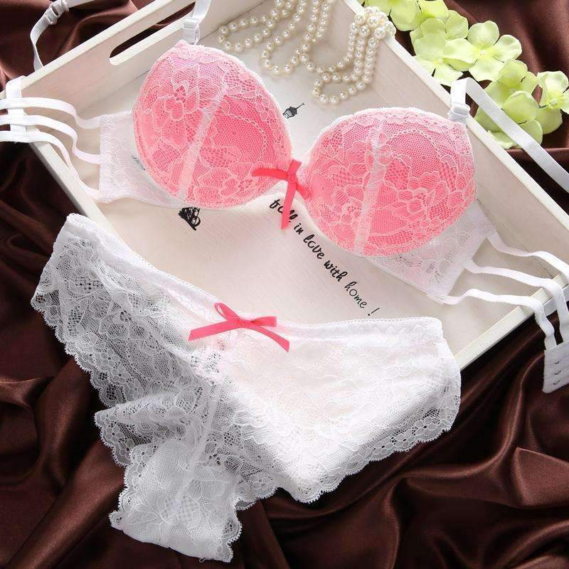 The French Original lace Underwear-Bra Set-pink-B-34-JadeMoghul Inc.