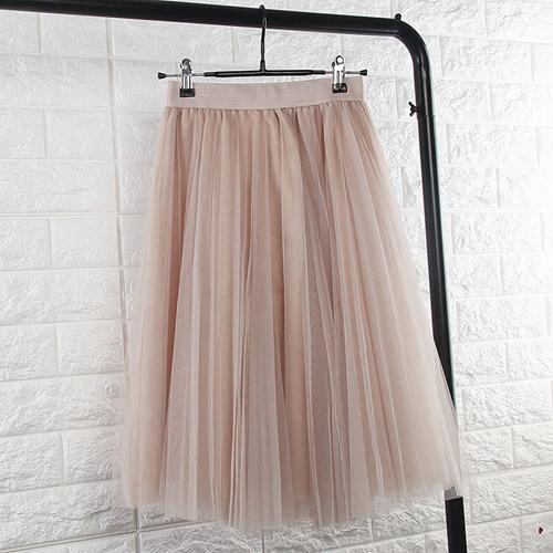 TingYiLi Tulle Skirts Womens Black Gray White Adult Tulle Skirt Elastic High Waist Pleated Midi Skirt 2016-Beige-One Size-JadeMoghul Inc.