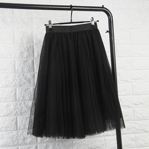 TingYiLi Tulle Skirts Womens Black Gray White Adult Tulle Skirt Elastic High Waist Pleated Midi Skirt 2016-Black-One Size-JadeMoghul Inc.