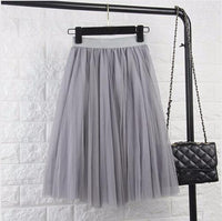TingYiLi Tulle Skirts Womens Black Gray White Adult Tulle Skirt Elastic High Waist Pleated Midi Skirt 2016-Gray-One Size-JadeMoghul Inc.