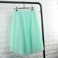 TingYiLi Tulle Skirts Womens Black Gray White Adult Tulle Skirt Elastic High Waist Pleated Midi Skirt 2016-Mint Green-One Size-JadeMoghul Inc.