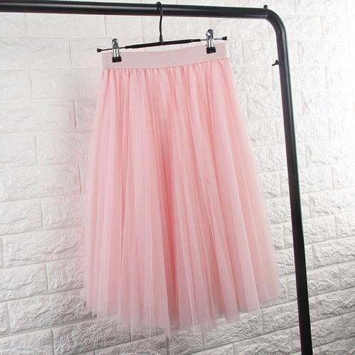 TingYiLi Tulle Skirts Womens Black Gray White Adult Tulle Skirt Elastic High Waist Pleated Midi Skirt 2016-Pink-One Size-JadeMoghul Inc.