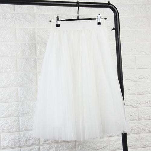 TingYiLi Tulle Skirts Womens Black Gray White Adult Tulle Skirt Elastic High Waist Pleated Midi Skirt 2016-White-One Size-JadeMoghul Inc.