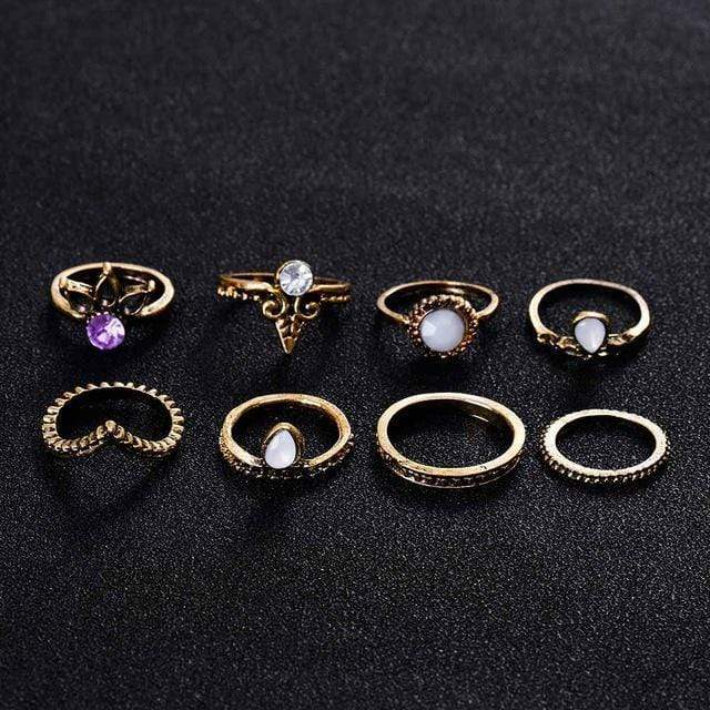 TOMTOSH Bohemian 8pcs/Set Retro Anti Silver Anti Gold Rings Lucky Stackable Midi Rings Set Rings for Women Party 2017 new AExp