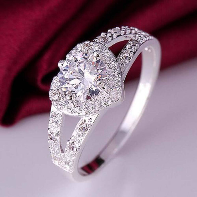 Tomtosh The new cute hot silver ring fashion jewelry charm Lady stone wedding stone high quality crystal ring AExp