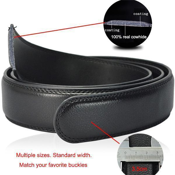 Top Quality Genuine Luxury Leather Belt-belt body no buckle-95cm 24to27 Incn-JadeMoghul Inc.