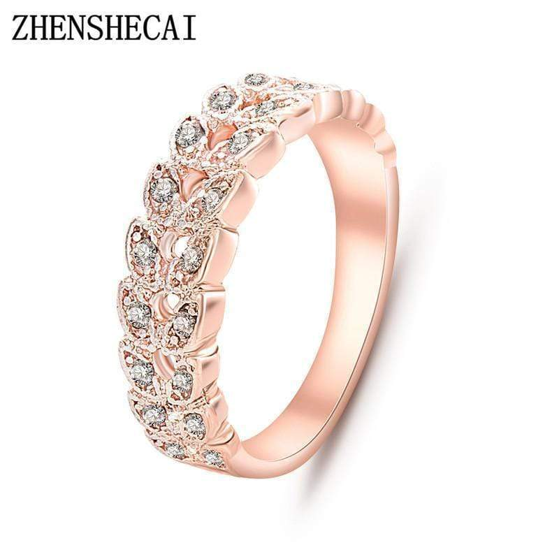 Top Quality Gold Concise Classical CZ Crystal Wedding Ring Rose Gold Color Austrian Crystals Wholesale  nj92 AExp