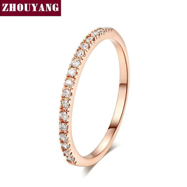 Top Quality Gold Concise Classical CZ Wedding Ring Rose Gold Color Austrian Crystals Wholesale ZYR132 ZYR133-10-RoseGold-JadeMoghul Inc.