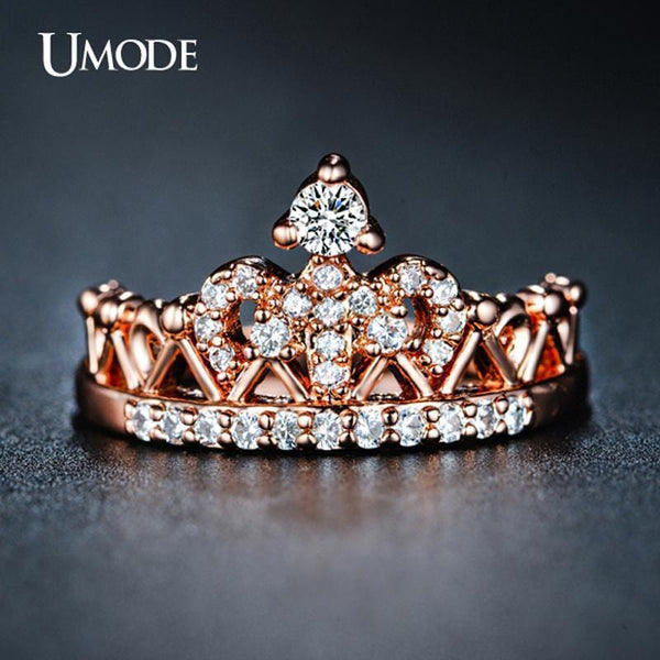 UMODE 2016 New Arrival Anillos Wholesale Rose Gold Color Round Cut Cubic Zirconia Fashion Crown Rings For Women Jewelry AUR0217-6-Rose Gold Color-JadeMoghul Inc.