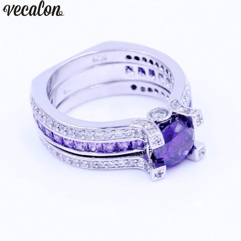 Vecalon Fashion Couple Engagement ring Purple 5A zircon Cz 925 Sterling Silver Birthstone wedding Band ring Set for women men AExp