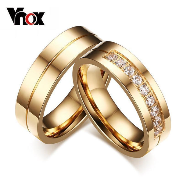 Vnox Trendy Wedding Bands Rings for Women / Men Love Gold-color Stainless Steel CZ Promise Jewelry-5-1 piece for men-JadeMoghul Inc.