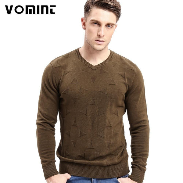 Vomint Brand Cotton Mens Sweaters V neck Top Dyed Sweaters Pullover man Solid Color Class Style Knitwear O6VI6C53-O6VI6C53black03-XXXL-JadeMoghul Inc.