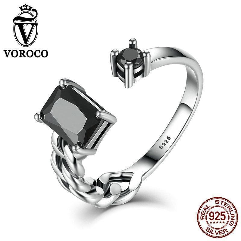 VOROCO High Quality Aquare and Round Black Braided Cuff Open Adjustable Rings Women Fine Jewelry Wedding Gift VSR043--JadeMoghul Inc.