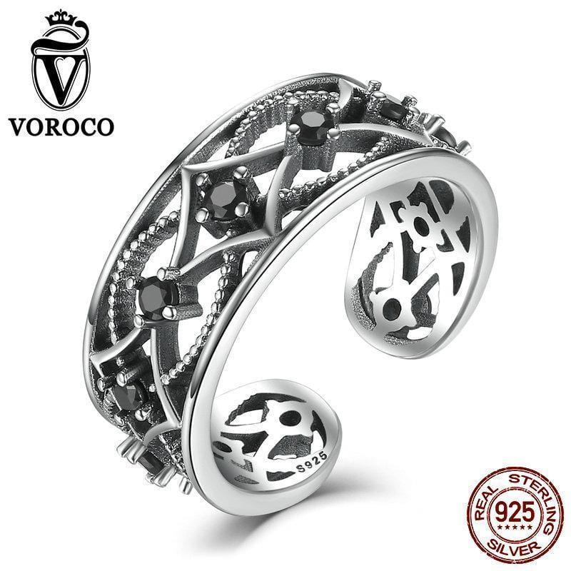 VOROCO Real 100% 925 Sterling Silver Chain Pattern Surrounded Band Open Adjustable Ring Free Size Women Fine Jewelry VSR029--JadeMoghul Inc.