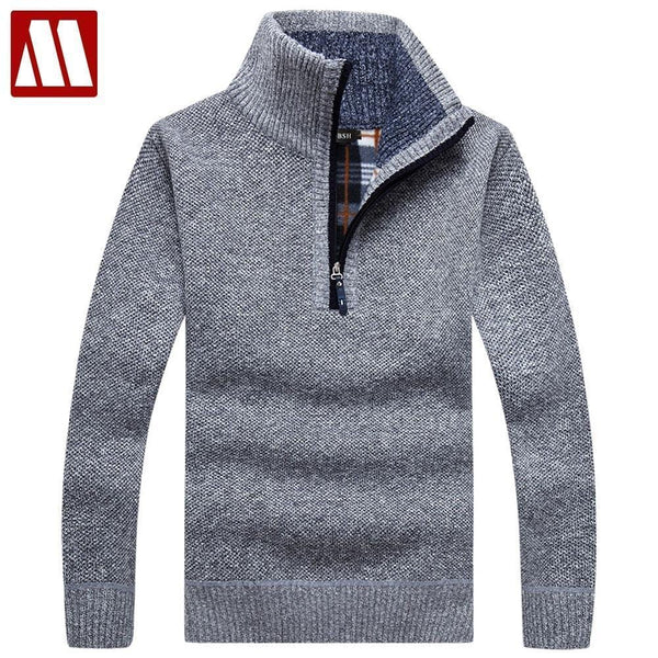 Warm Thick Velvet Cashmere Sweater For Men / Winter Zipper Stand Collar Knitwear-Style1 Blue-S-JadeMoghul Inc.